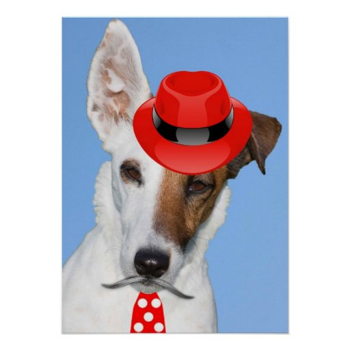 Cute puppy dog red fashion funy moustache tie hat poster