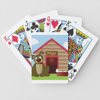 Cute Puppy Dog with Dog House Illustration Bicycle Playing Cards