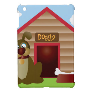 Cute Puppy Dog with Dog House Illustration iPad Mini Case