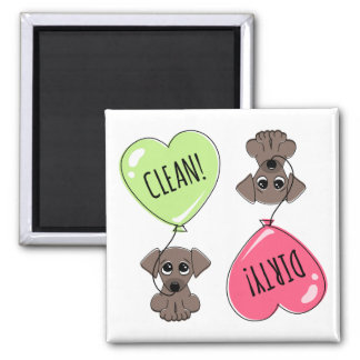 Cute puppy dog with heart balloon clean dirty square magnet
