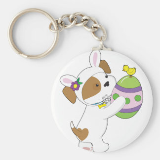 Cute Puppy Easter Egg Basic Round Button Key Ring