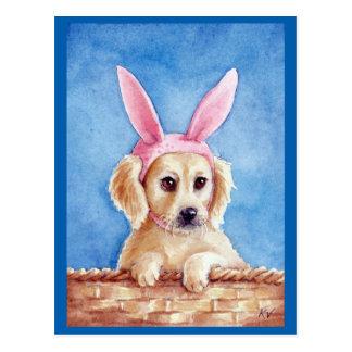 Cute puppy golden retriever bunny ears postcard