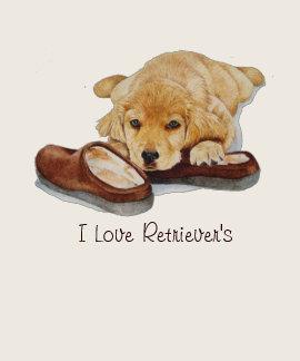 cute puppy golden retriever cuddling slippers art tees