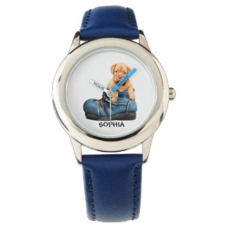 Cute Puppy in Blue Shoe Personalized Child's Watch