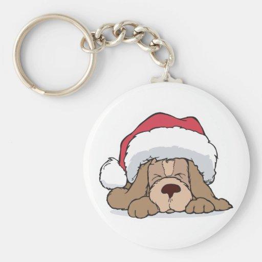 cute puppy in santa hat key chains