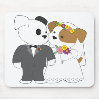 Cute Puppy Marriage Mouse Pad