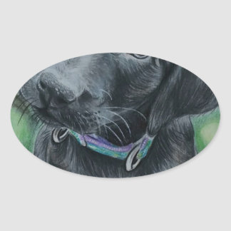 Cute puppy oval sticker