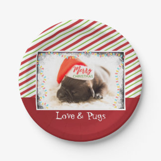 Cute Puppy Pug in a Red Santa Hat Christmas Paper Plate