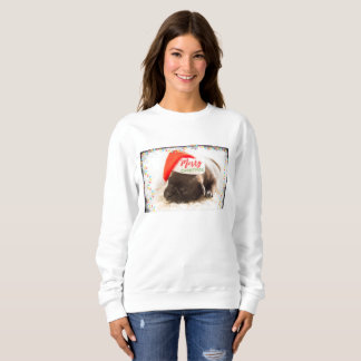 Cute Puppy Pug in a Red Santa Hat Christmas Sweatshirt