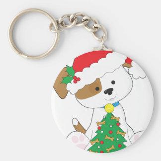Cute Puppy Santa Key Ring