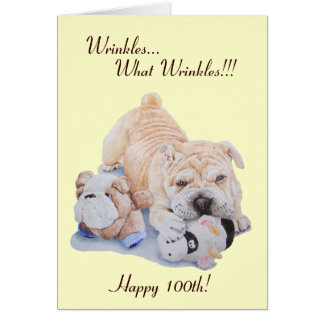 Cute puppy shar pei dog and teddy funny 100th card