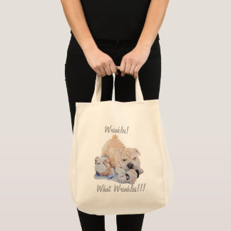 Cute puppy shar pei teddy bears fun slogan tote bag