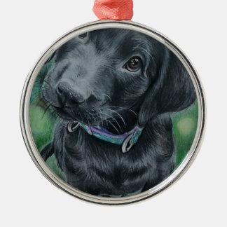 Cute puppy Silver-Colored round decoration