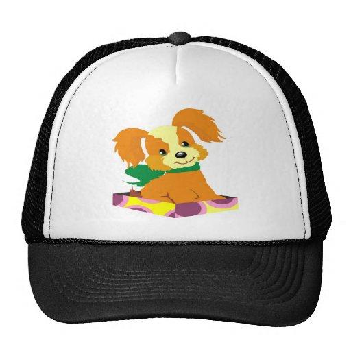 Cute puppy sitting in a box lid hat