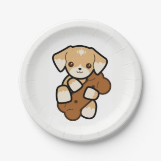 Cute Puppy With a Big Bone Paper Plate