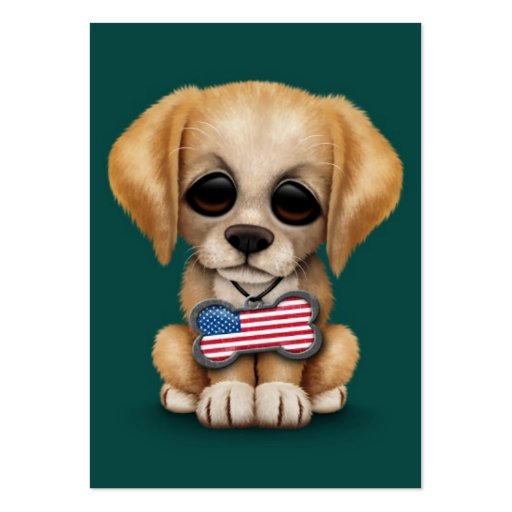 Cute Puppy with American Flag Pet Tag, Teal Business Card