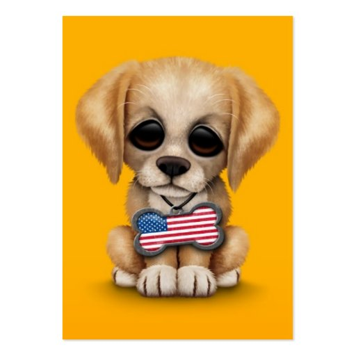 Cute Puppy with American Flag Pet Tag, Yellow Business Card Templates