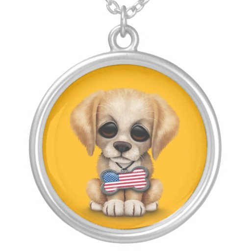 Cute Puppy with American Flag Pet Tag, Yellow Pendant