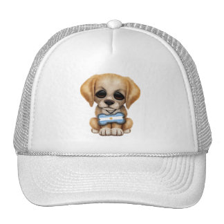 Cute Puppy with Argentinian Flag Dog Tag Cap