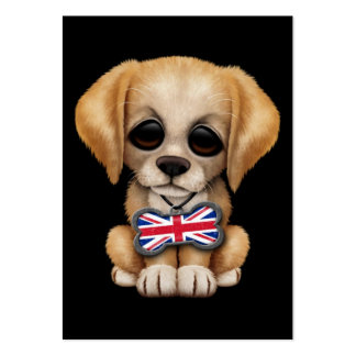 Cute Puppy with British Flag Pet Tag, Black Business Card Template