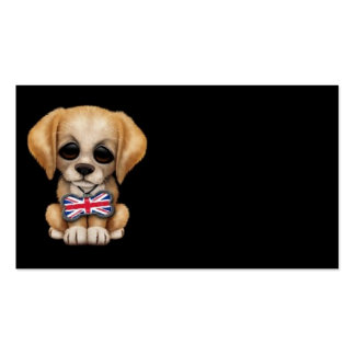 Cute Puppy with British Flag Pet Tag, Black Business Cards