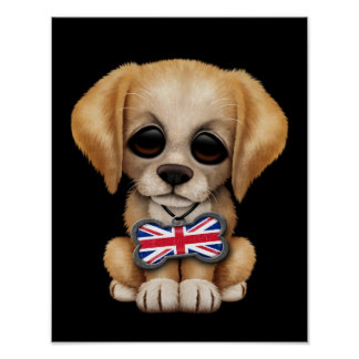 Cute Puppy with British Flag Pet Tag, Black Print