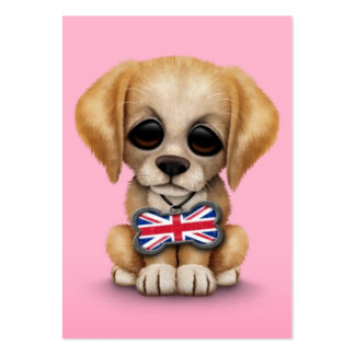 Cute Puppy with British Flag Pet Tag, Pink Business Card Template