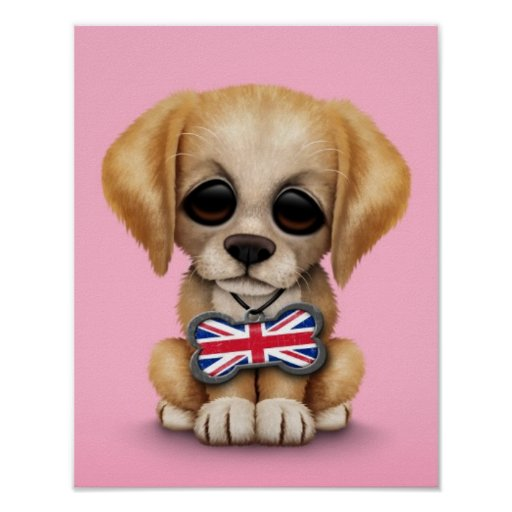 Cute Puppy with British Flag Pet Tag, Pink Posters