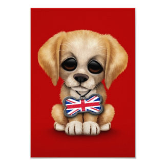 Cute Puppy with British Flag Pet Tag, Red 9 Cm X 13 Cm Invitation Card