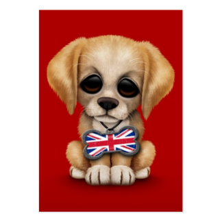 Cute Puppy with British Flag Pet Tag, Red Business Card Templates