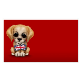 Cute Puppy with British Flag Pet Tag, Red Pack Of Standard Business Cards