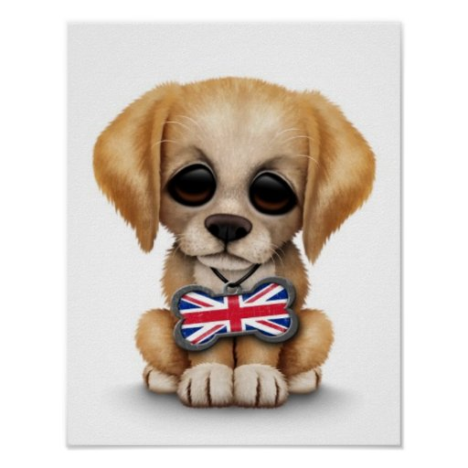Cute Puppy with British Flag Pet Tag, White Posters