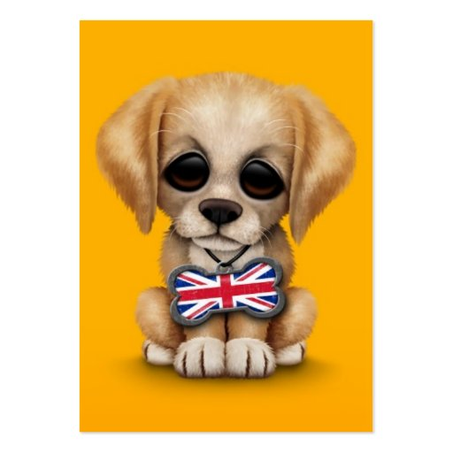 Cute Puppy with British Flag Pet Tag, Yellow Business Cards