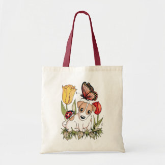 Cute Puppy with Butterfly, Ladybug and Tulips