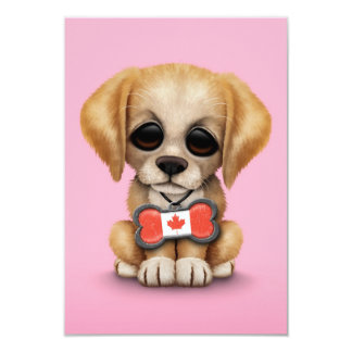 Cute Puppy with Canadian Flag Bone Tag, Pink Personalized Invite