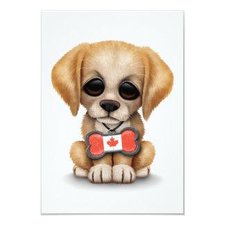 Cute Puppy with Canadian Flag Bone Tag, White Custom Invites