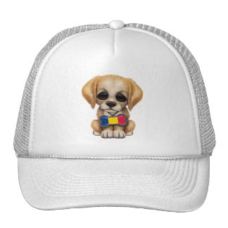 Cute Puppy with Chad Flag Pet Tag Cap