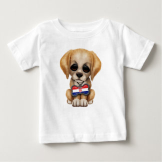 Cute Puppy with Croatian Flag Dog Tag Baby T-Shirt