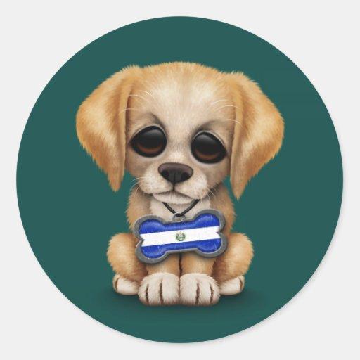 Cute Puppy with El Salvador Flag Dog Tag, teal Sticker