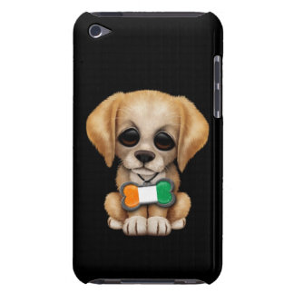 Cute Puppy with Ivory Coast Flag Tag, black iPod Touch Cases