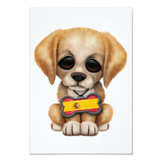 Cute Puppy with Spanish Flag Dog Tag Personalized Invitations
