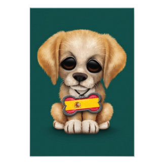 Cute Puppy with Spanish Flag Dog Tag, teal Personalized Announcement