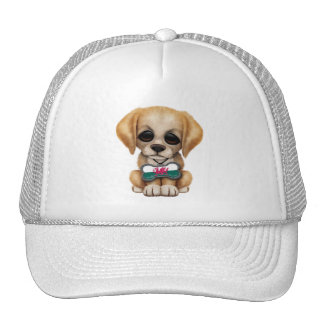 Cute Puppy with Welsh Flag Dog Tag Trucker Hats