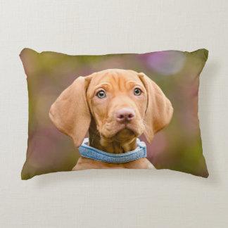 Cute puppyeyed Hungarian Vizsla Dog Puppy Photo // Decorative Cushion