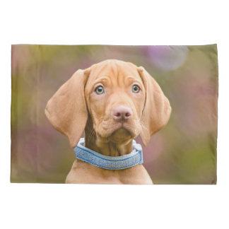 Cute puppyeyed Hungarian Vizsla Dog Puppy Photo _. Pillowcase