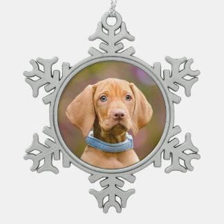 Cute puppyeyed Hungarian Vizsla Dog Puppy Photo * Snowflake Pewter Christmas Ornament