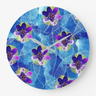 Cute Purple and Blue Artsy Floral Pattern Large Clock