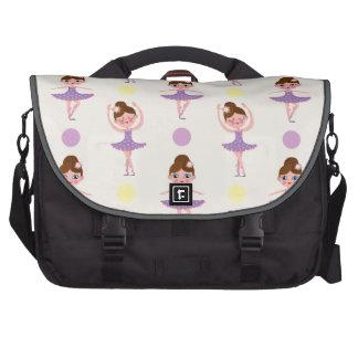 Cute Purple and Yellow Ballet Dancer, Ballerina Laptop Bags