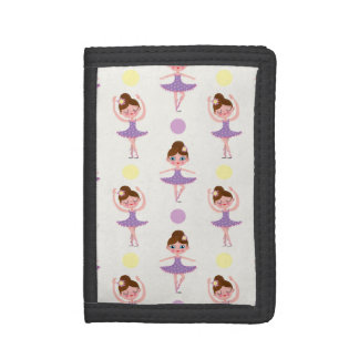 Cute Purple and Yellow Ballet Dancer, Ballerina Tri-fold Wallets