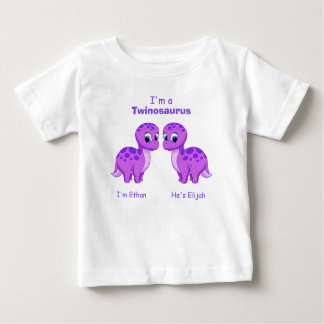 Cute Purple Baby Dinosaur Twins Personalized Baby T-Shirt